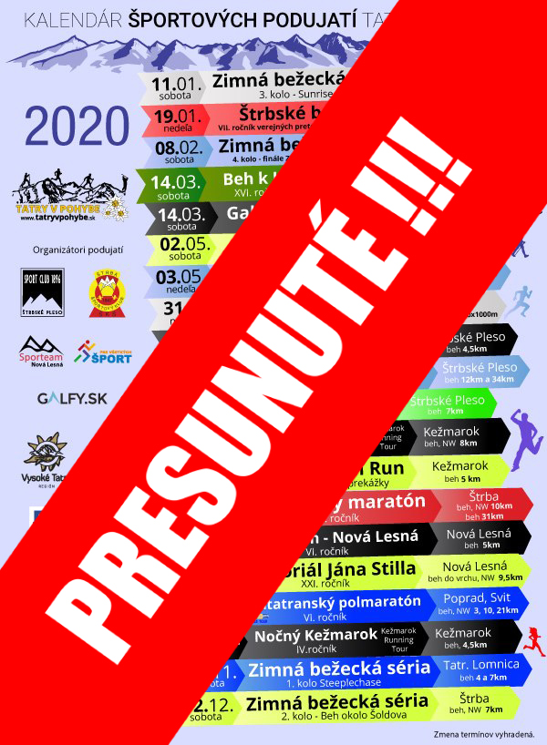 Tatry Running Tour 2020 & Night run PRESUNUTÉ!!!
